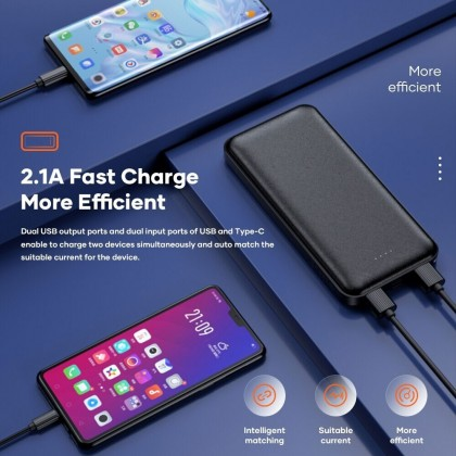 Rock P86 Power Bank 10000mAh 2 USB Port Max 2.1A Output Type C and Micro USB Input 2A for Samsung Huawei iPhone Xiaomi